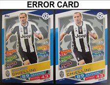 Champions League 16/17 ERROR CARD JUV6 Chiellini Juventus Match Attax 2016/2017