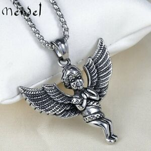 MENDEL Cool Fashion Mens Stainless Steel Baby Angel Wings Pendant Necklace Men