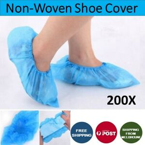 Disposable Non-woven 200Pcs Anti-Skid Shoe Cover Overshoes Boot Cover Blue