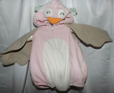 CARTER'S PINK OWL BODY SUIT COSTUME 3-6 MONTHS OVERSTUFFED CHARACTER HOOD EUC