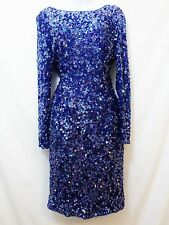 SWEELO Womens Vintage Blue Purple 100% Silk Sequin Cocktail Evening Dress SMALL