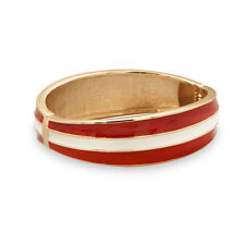 Graduated Red and White Enamel Fashion Bangle Bracelet