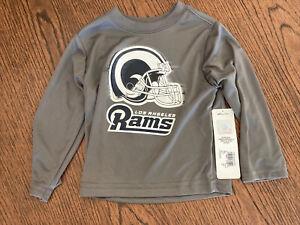 New NWT NFL Boys' Long Sleeve Grey Logo Tee Shirt Los Angeles Rams Sz 18mo