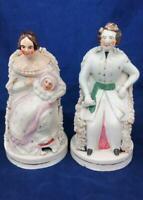 Pair Staffordshire Queen Victoria Baby Prince Albert Figurines Antique c 1841