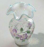 Vtg Fenton White Opalescent Swirl Vase Hand Painted Artist Sign Purple Violets