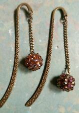Rhinestone brown bead  bookmark 80mm  (T4)
