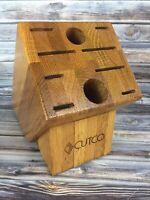 CUTCO Knife Block 10 Homemaker Solid Wood Oak Honey Holds Knives & Scissors USA