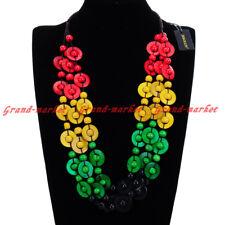 Fashion Circles Round Wood Beads Chain Collar Collar Choker Pendant Bib Necklace