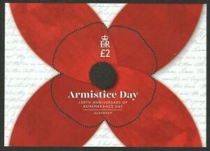 Alderney 2019 100Th Anniv. Armistice Day Poppy Odd Shaped Stamp Miniature sheet