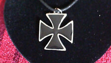 Large Black Iron Cross Pewter Pewter Pendant Necklace! New Made in USA Maltese