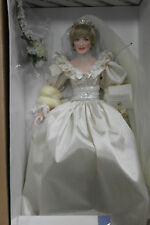 "Franklin Mint Princess Diana Wedding Bride Porcelain Doll 17"" With COA"