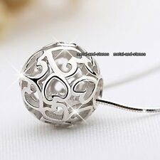 NEW Silver Love Heart Pendant Necklace Promise Xmas Gift For Her Women Jewellery