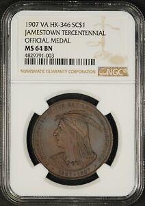1907 HK-346 NGC MS-64 BN Jamestown Expo Official Bronze Medal