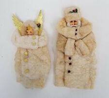 PAIR of Antique Victorian Scrap and Spun Cotton Santa & Angel Christmas Ornament