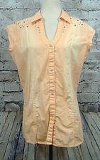 Rock 47 by Wrangler Womens Shirt Blouse Size L Peach Ombre? Studs  (w-760)