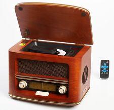 Radio Antigua Vintage Madera Autentica, Radio CD MP3,Retro USB Connector Mando