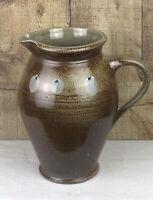 Vintage Stoneware Salt Glaze Pitcher 9 Inch