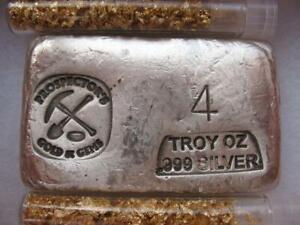 4-OZ. 999 RARE PURE SILVER HAND POURED PROSPECTOR'S BAR + GOLD 2021 $ CRASH INS