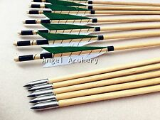 12PCS Cedar wooden arrow with  bullet Point for hunting bow arrow outside hunter