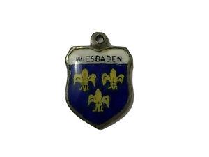 Vintage 925 Stering Silver WIESBADEN German Shield Charm Fleur De Lis Travel K3