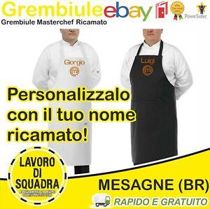 Grembiule da Cucina Masterchef Ricamato con Nome Chef Nero Bianco Unisex Regalo