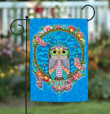 Toland Dreamcatcher Owl 12.5 x 18 Colorful Bird Flower Feather Garden Flag