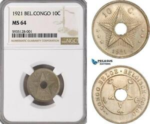 AG468-R, Belgian Congo, Albert I, 10 Centimes 1921, NGC MS64