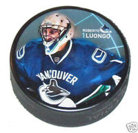 ROBERTO LUONGO Vancouver Canucks PLAYER PHOTO PUCK NEW #1 In Glas Co.