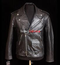 Men's Brando Black Bikers Jacket Motorcycle Leather Jacket Cowhide Leather