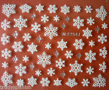 Christmas Nail Art Stickers Decals Silver White Snowflakes Stars Rhinestones 258
