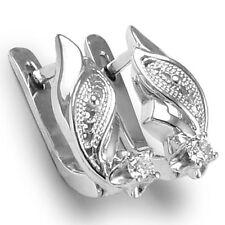 RUSSIAN JEWELRY 14K W. GOLD GENUINE DIAMOND EARRINGS FREE Worldwide Shipping.