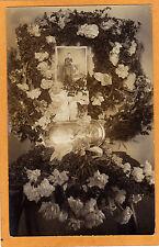 Real Photo Postcard RPPC - Funerary Floral Arrangement for Woman Post Mortem