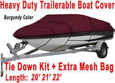 "V-Hull Fish Ski 20' 21' 22' Boat Trailerable Cover Beam 100""  Burgundy B2931R"