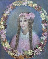 Impressionist Johannes Martini Portrait Girl With Flower Wreath - Art Nouveau