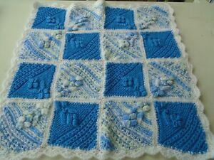 New Hand Knitted Blue/White Blanket/Crib/Pram Topper