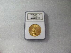 1908 USA 20 GOLD DOLLARS COIN, SAINT- GAUDENS, NO MOTTO NGC - MS64
