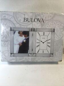*BRAND NEW* Bulova Ceremonial Picture Frame Engraving Plate Desk Clock B1254
