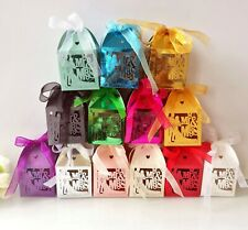 100pieces Laser Cut Mr & Mrs Candy Boxes Wedding Favor Cake Box with Ribbon