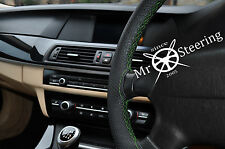 FOR VAUXHALL SIGNUM PERFORATED LEATHER STEERING WHEEL COVER 03+GREEN DOUBLE STCH