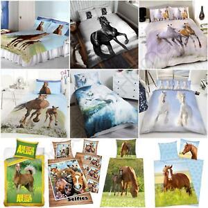 HORSES PONIES FOAL DUVET COVER SET KIDS ADULTS - JUNIOR SINGLE DOUBLE KING SIZE