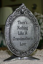 "Decorative Grandmothers Love Placque by Carson in Silver tone Metal 6-1/4"" Tall"