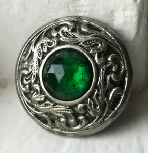 Antique Gay nineties JEWEL button~white metal~Emerald green glass stone~#04