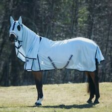 Horze Freja Fly Combo Rug Sheet with Hood Horse Cover Light Blue EU 165 US 84""