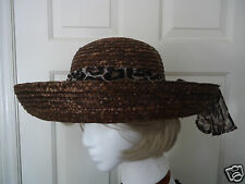 TROPICAL TRENDS Women's Brown Straw Hat With Leopard Pattern Band NWOT