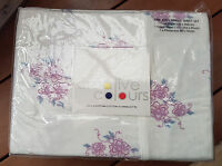 Creative Colours White Floral Egyptian Cotton Flannel Sheet Set King Single Bed