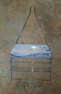 Chrome Shower Organizer Caddy Shelf Rack Bathroom Shampoo Holder Shelves Bath