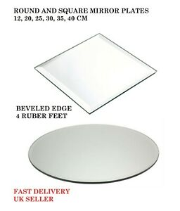 Round / Square 12,20,25,30,35,40CM GLASS Mirror Plates Wedding Table Centrepiece