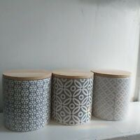 Embossed Ceramic Tea Coffee Sugar Storage Canisters Air tight Bamboo Lid Pots
