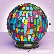 MOSAIC GLASS GLOBE LIGHT - Tabletop or Hanging Mosaic Color Changing Light
