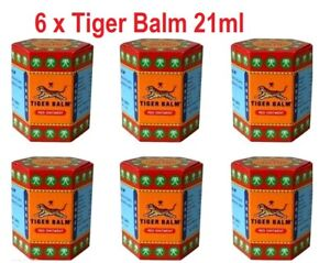 6 x 21 ml Tiger Balm Red ointment massage muscle rub herbal aches pain relief